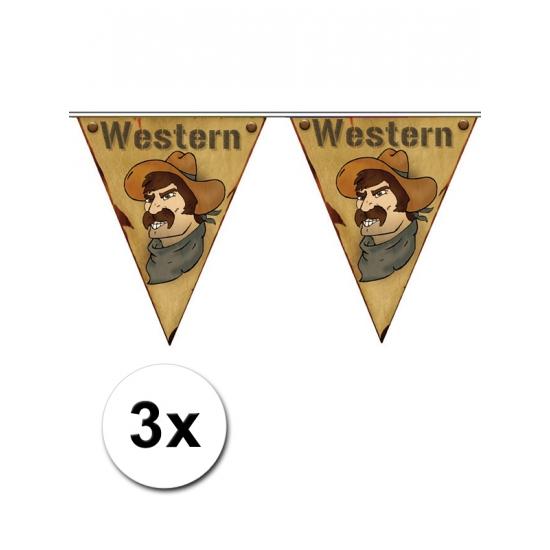 3x Wilde Westen themafeest vlaggenlijn Western