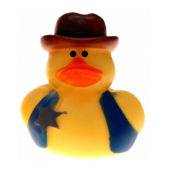 Geel cowboy badeendje met badge 5 cm